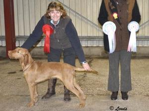 Ava winning Best Puppy in Show at Ashbourne CS
