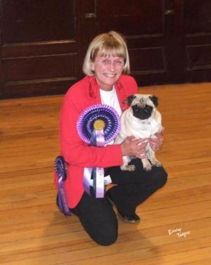 Anita Package winning Best Puppy in Show Scotland
